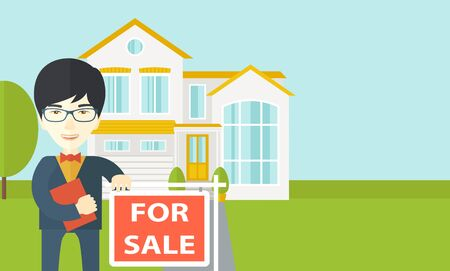 real estate agent: An asian real estate agent in glasses holding the document and placard for sale on house background vector flat design illustration. Horizontal layout with a text space.