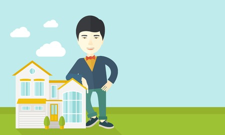 An asian real estate agent standing and offering the house vector flat design illustration. Horizontal layout with a text space.
