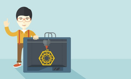 polymerization: An asian man standing with 3D printer and a raised hand  vector flat design illustration isolated on blue background. Horizontal layout with a text space. Illustration