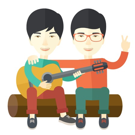 bestfriend: Two happy asian men  sitting on a log playing a guitar vector flat design illustration isolated on white background. Square layout.