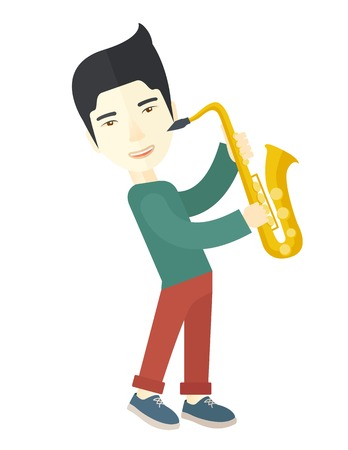orchestral: An asian musician playing saxophone vector flat design illustration isolated on white background. Vertical layout. Illustration