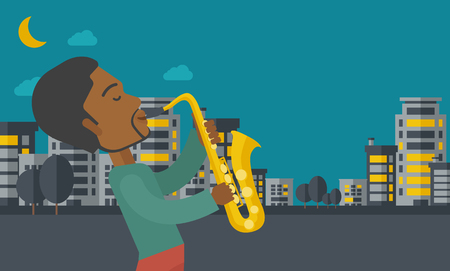 soloist: An african-american musician playing saxophone in the streets at night vector flat design illustration. Horizontal layout with a text space. Illustration