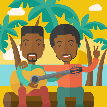 bestfriend: Two happy african-american men sitting on a log playing a guitar at the beach under palm trees vector flat design illustration. Square layout.