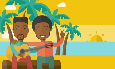 bestfriend: Two happy african-american men  sitting on a log playing a guitar at the beach under palm trees vector flat design illustration. Horizontal layout with a text space. Illustration