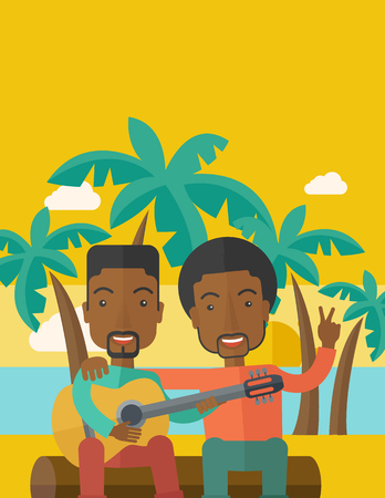 bestfriend: Two happy african-american men  sitting on a log playing a guitar at the beach under palm trees vector flat design illustration. Vertical layout with a text space.