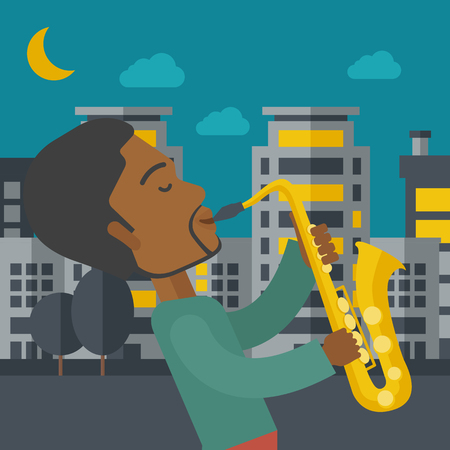 An african-american musician playing saxophone in the streets at night vector flat design illustration. Square layout. Ilustração
