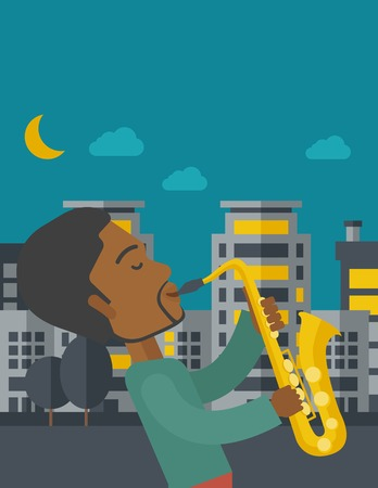 orchestral: An african-american musician playing saxophone in the streets at night vector flat design illustration. Vertical layout with a text space. Illustration