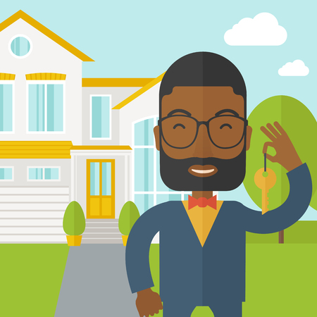 real estate agent: An african-american real estate agent with beard and glasses holding key on house background vector flat design illustration. Square layout. Vectores