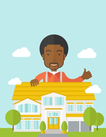 An african-american real estate agent standing behind the house with thumbs up vector flat design illustration. Vertical layout with a text space. 矢量图像