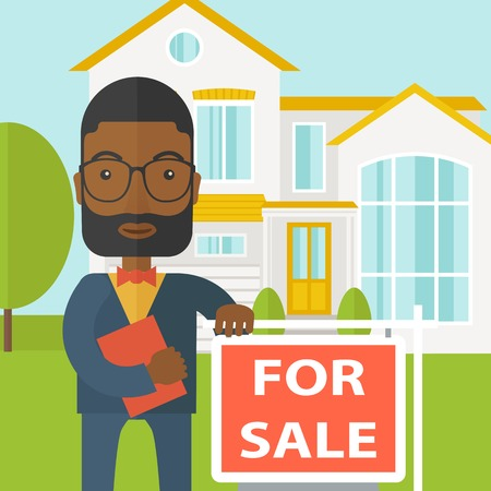 real people: An african-american real estate agent with beard and glasses holding the document and placard for sale on house background vector flat design illustration. Square layout.