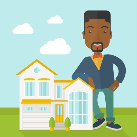 offering: An african-american real estate agent standing and offering the house vector flat design illustration. Square layout.