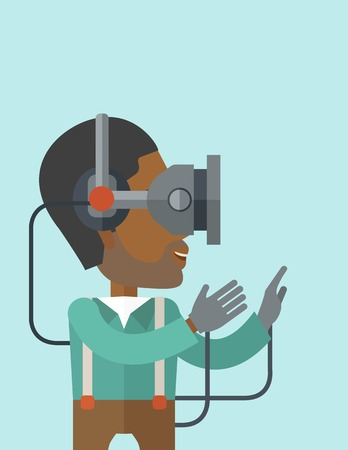 man headset: An asian man wearing a virtual relaity headset vector flat design illustration isolated on blue background. Vertical layout with a text space.