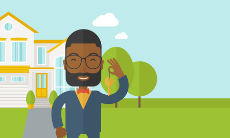 An african-american real estate agent with beard and glasses holding key on house background vector flat design illustration. Horizontal layout with a text space.