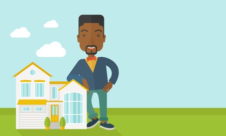 offering: An african-american real estate agent standing and offering the house vector flat design illustration. Horizontal layout with a text space. Illustration