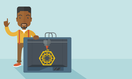 polymerization: An african-american man standing with 3D printer and a raised hand  vector flat design illustration isolated on blue background. Horizontal layout with a text space.