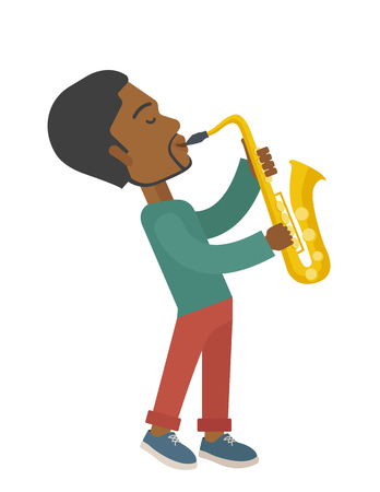 soloist: An african-american musician playing saxophone vector flat design illustration isolated on white background. Vertical layout.