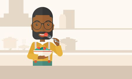 healthy meal: A smiling african-american man with beard in glasses eating salad vector flat design illustration. Healthy concept. Horizontal layout with a text space.