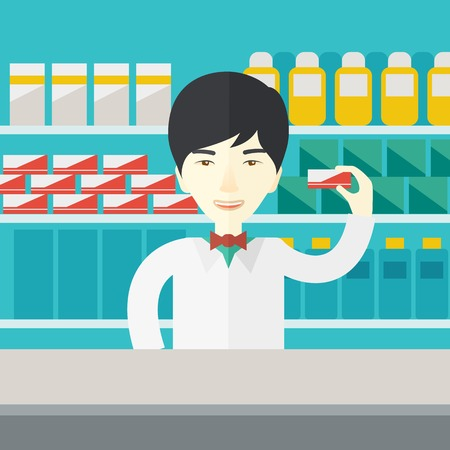 druggist: An asian pharmacist at the counter in a pharmacy opposite the shelves with medicines vector flat design illustration. Square layout.