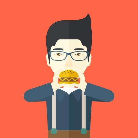幸せなアジア男眼鏡をかけて食べるハンバーガー ベクトル平らな設計図。正方形のレイアウト。