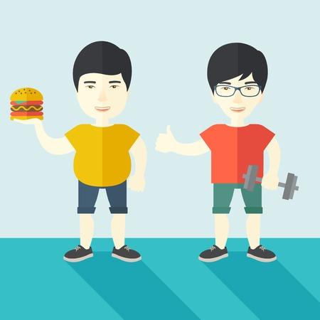 Hombre asiático gruesa de pie con la hamburguesa mientras que el hombre asiático delgada de pie con mancuernas ilustración vectorial diseño plano. concepto de estilo de vida. de planta cuadrada.