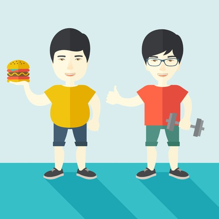 asian lifestyle: Thick asian man standing with hamburger while slim asian man standing with dumbbell vector flat design illustration. Lifestyle concept. Square layout.