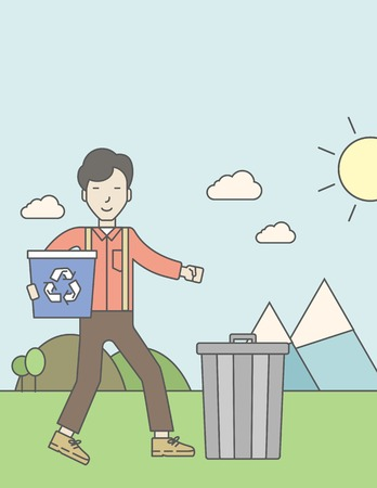 An asian man with a recycle bin in hand and another bin on the ground. Vector line design illustration. Vertical poster layout with a text space.