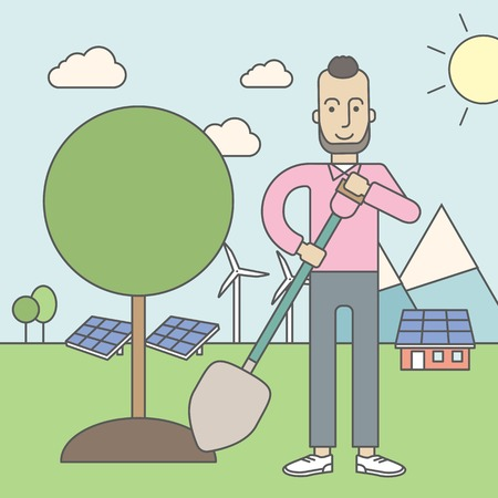 sun energy: A caucasian hipster man with beard plants a tree on a background with solar panels and wind turbines. Vector line design illustration. Square layout. Illustration