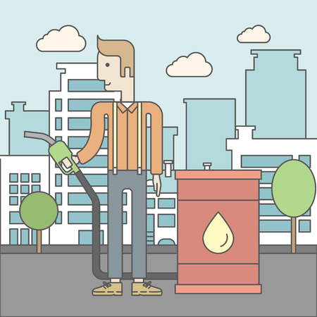 filling line: A caucasian man standing beside the oil can and holding filling nozzle on city background. Vector line design illustration. Square layout.