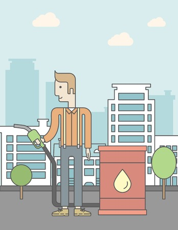 filling line: A caucasian man standing beside the oil can and holding filling nozzle on city background. Vector line design illustration. Vertical poster layout with a text space.