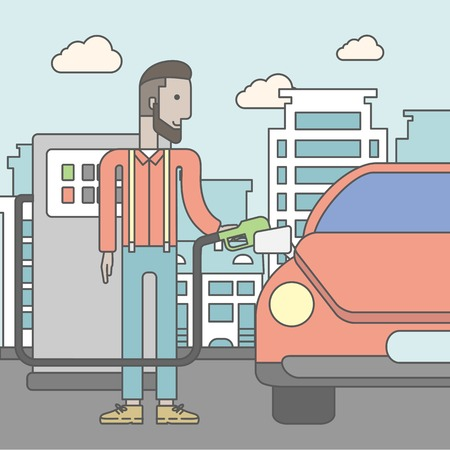 car pollution: An african-american man filling up fuel into the car on city background. Vector line design illustration. Square layout.