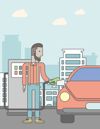 filling line: An african-american man filling up fuel into the car on city background. Vector line design illustration. Vertical poster layout with a text space. Illustration