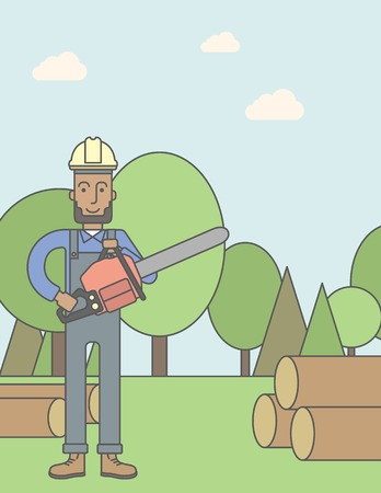 An african-american lumber-man with a chainsaw on a forest background. Vector line design illustration. Vertical poster layout with a text space. Illustration