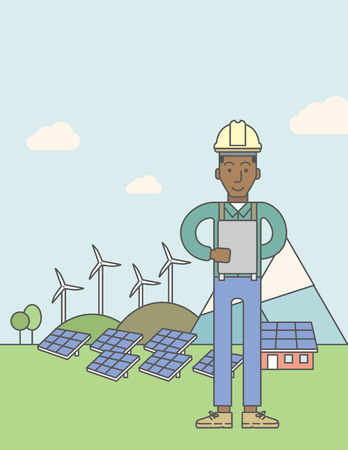 turbin: An african-american man in helmet with a tablet in hands on a background with solar pannels and wind turbins. Vector line design illustration. Vertical poster layout with a text space.