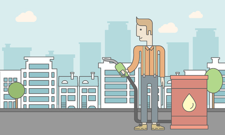 filling line: A caucasian man standing beside the oil can and holding filling nozzle on city background. Vector line design illustration. Horizontal layout with a text space for a social media post.