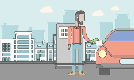 filling line: An african-american man filling up fuel into the car on city background. Vector line design illustration. Horizontal layout with a text space for a social media post.