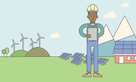 turbin: An african-american man in helmet with a tablet in hands on a background with solar pannels and wind turbins. Vector line design illustration. Horizontal layout with a text space for a social media post.