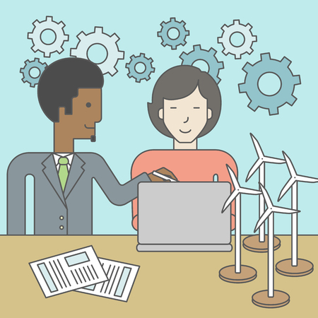 windfarm: An african-american man and an asian woman watching the laptop screen, with wind turbine models and papers on the table. Vector line design illustration. Square layout. Illustration