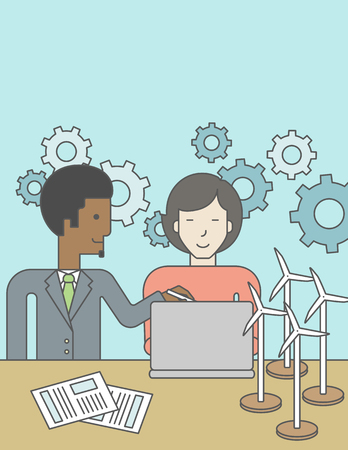 asian man laptop: An african-american man and an asian woman watching the laptop screen, with wind turbine models and papers on the table. Vector line design illustration. Vertical layout with a text space for a social media post.