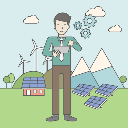sun energy: An asian man with a tablet in hands on a background with solar panels and wind turbines. Vector line design illustration. Square layout.