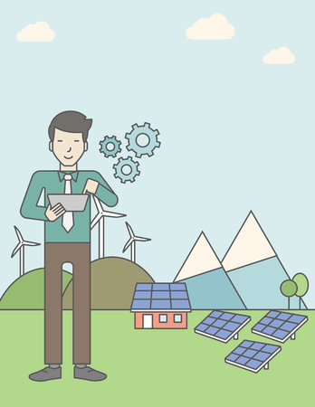 turbin: An asian man with a tablet in hands on a background with solar panels and wind turbines. Vector line design illustration. Vertical layout with a text space for a social media post.