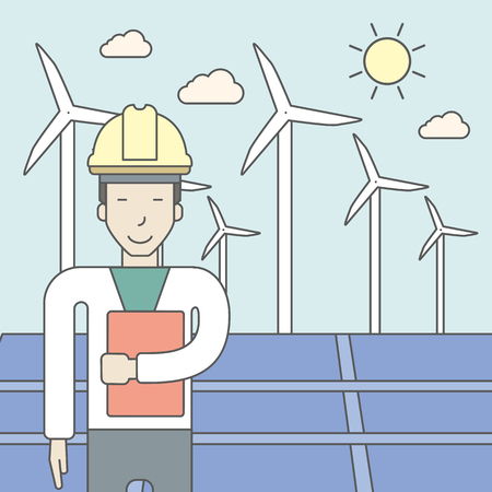 asian man laptop: An asian man in helmet with a document in hands on a background with big solar panel and wind turbines. Vector line design illustration. Square layout. Illustration
