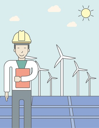 turbin: An asian man in helmet with a document in hands on a background with big solar panel and wind turbines. Vector line design illustration. Vertical layout with a text space for a social media post.