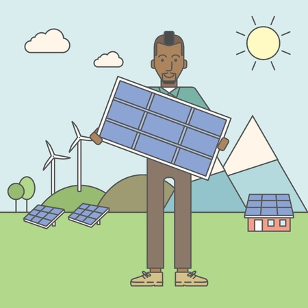 sun energy: An african-american man with a solar panel in hands on a background with solar panels and wind turbines. Vector line design illustration. Square layout.