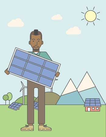 sun energy: An african-american man with a solar panel in hands on a background with solar panels and wind turbines. Vector line design illustration. Vertical layout with a text space for a social media post. Illustration