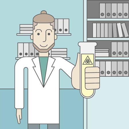 assistant: A caucasian hipster laboratory assistant with a test tube with biohazard sign on it. Vector line design illustration. Square layout.