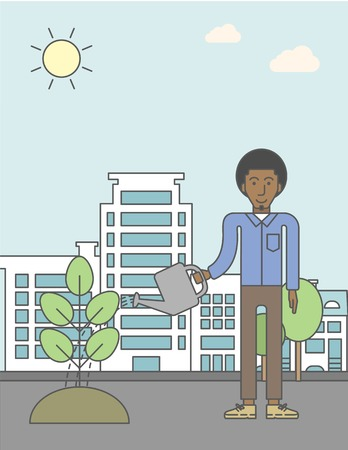 green environment: A african-american man watering a tree on city backround. Vector line design illustration. Vertical layout with a text space for a social media post.