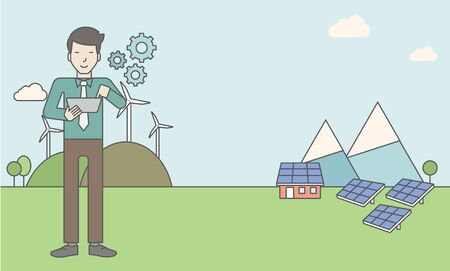 turbin: An asian man with a tablet in hands on a background with solar panels and wind turbines. Vector line design illustration. Horizontal layout with a text space for a social media post. Illustration