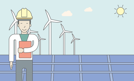 turbin: An asian man in helmet with a document in hands on a background with big solar panel and wind turbines. Vector line design illustration. Horizontal layout with a text space for a social media post.