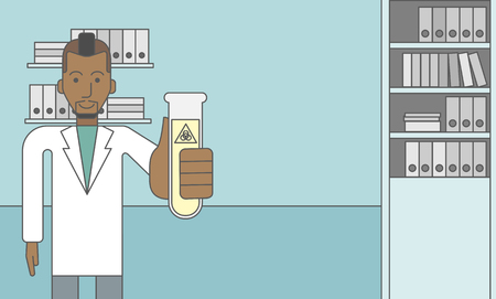 medical laboratory: An african-american laboratory assistant with a test tube with biohazard sign on it. Vector line design illustration. Horizontal layout with a text space for a social media post. Illustration
