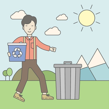 An asian man with a recycle bin in hand and another bin on the ground. Vector line design illustration. Square layout.